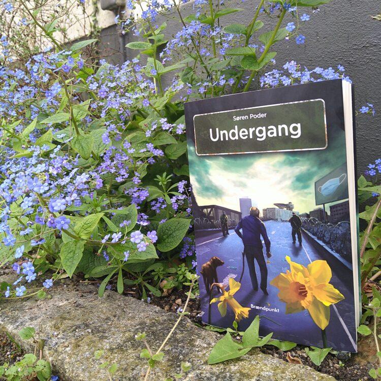 Romanen Undergang af Søren Poder ved en kantsten og vilde blå blomter